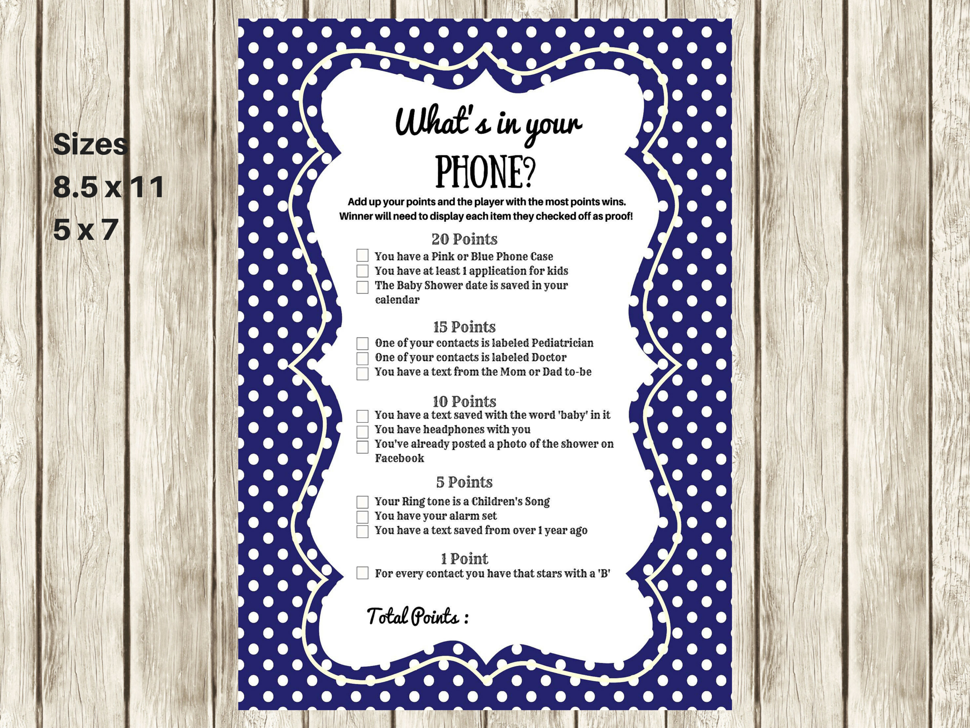 Navy Modern What's In Your Cellphone Baby Shower Games - What's In Your Cell Phone Game Free Printable