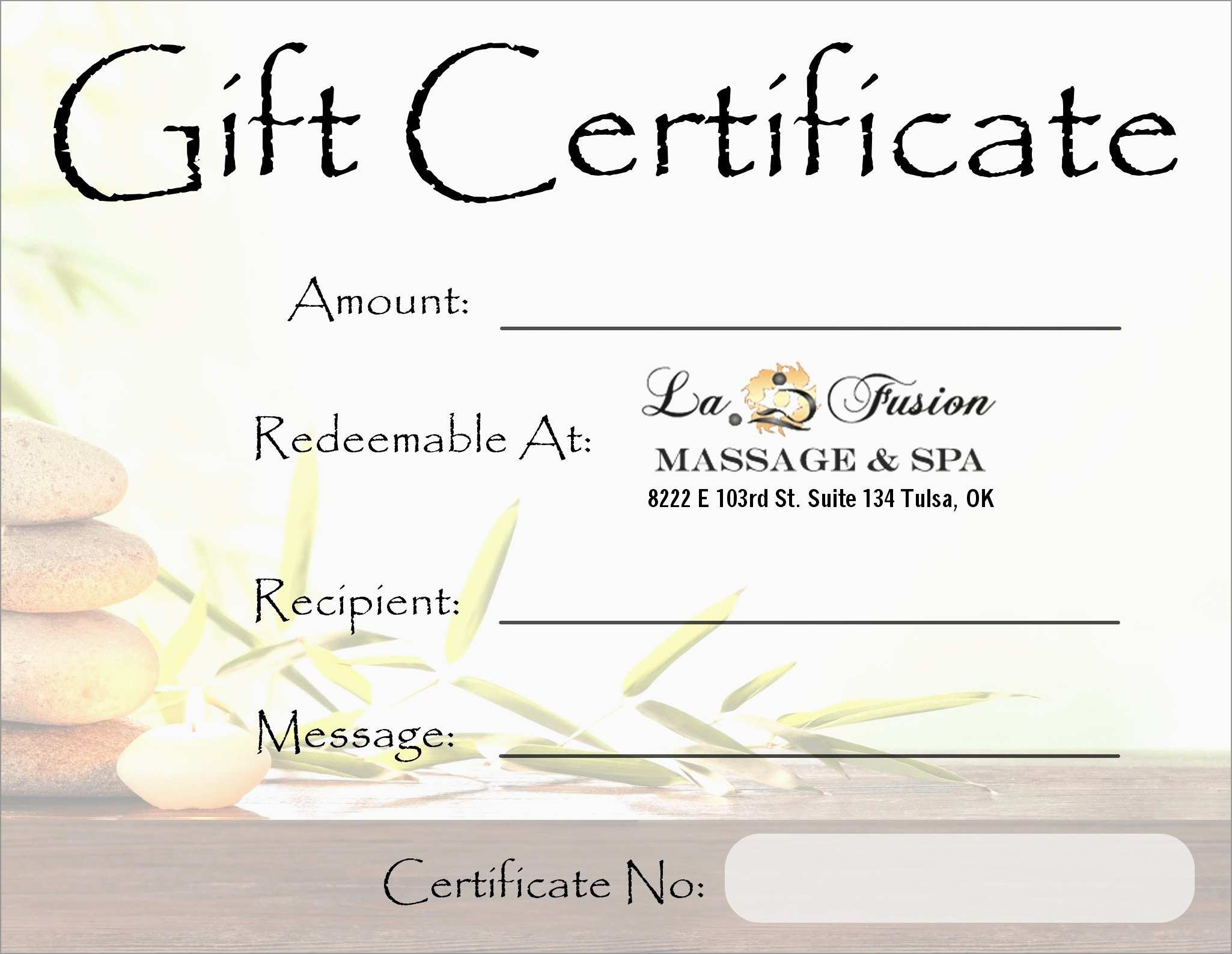 New Free Printable Massage Gift Certificate Templates   Best Of Template - Free Printable Gift Certificate Templates For Massage