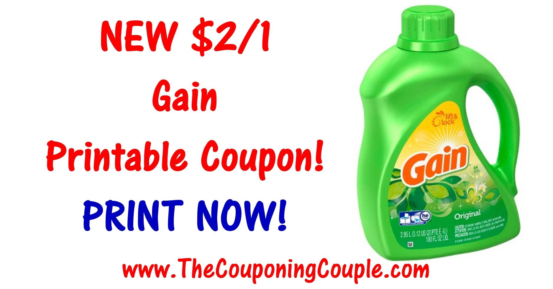 New Gain Printable Coupon ~ Print $2/1 Coupon Now! - Free Printable Gain Laundry Detergent Coupons