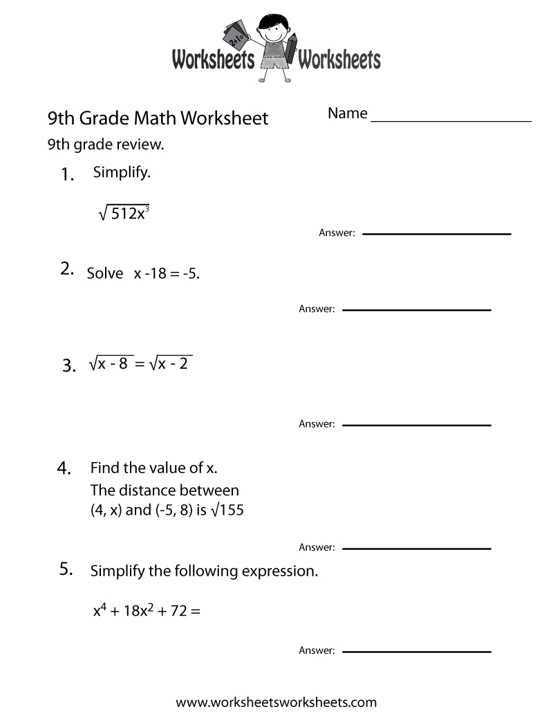 Ninth Grade Math Practice Worksheet Printable | Teaching | Math - 9Th Grade Algebra Worksheets Free Printable