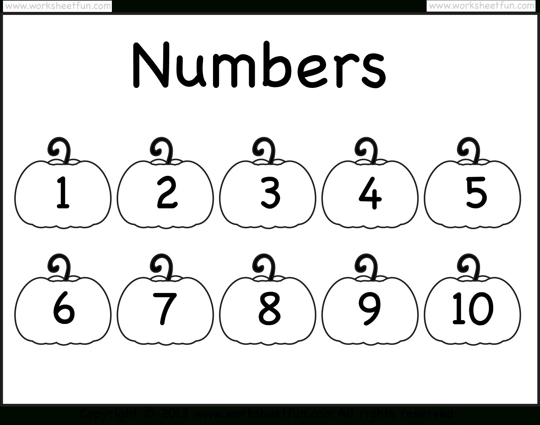 Number Chart – 1-10 – Worksheet / Free Printable Worksheets - Free Printable Number Chart 1 10