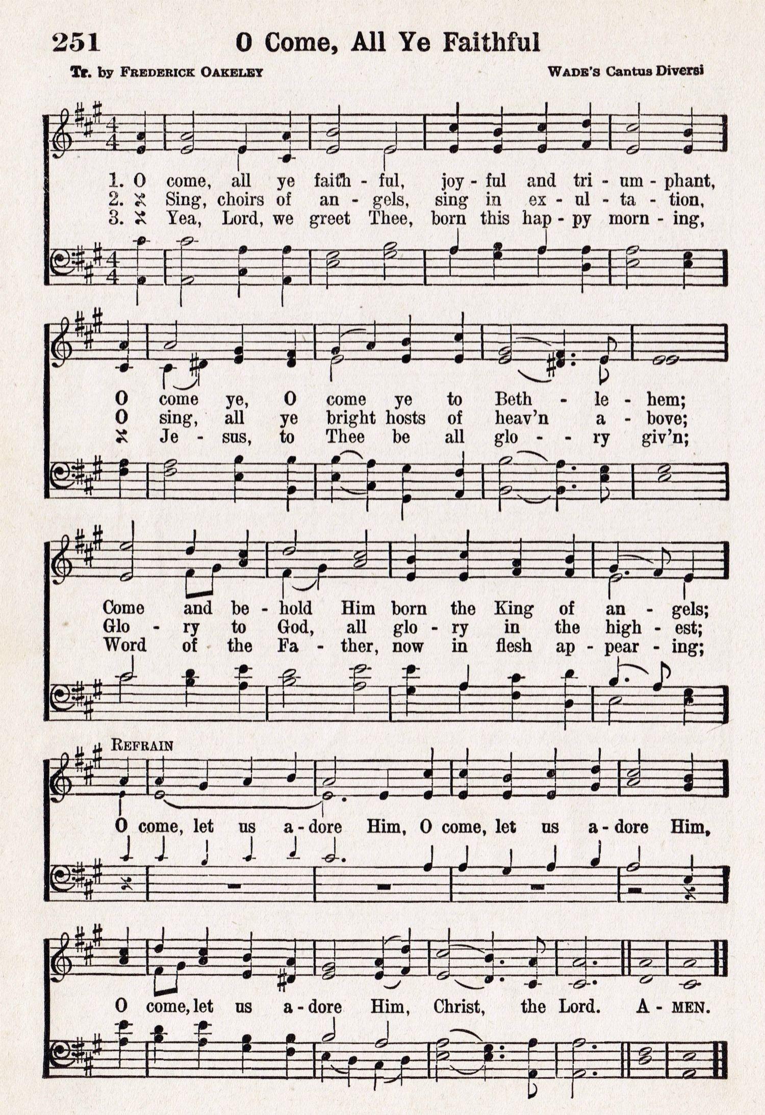 O Come, All Ye Faithful – Printable Antique Christmas Music Page - Christmas Carols Sheet Music Free Printable