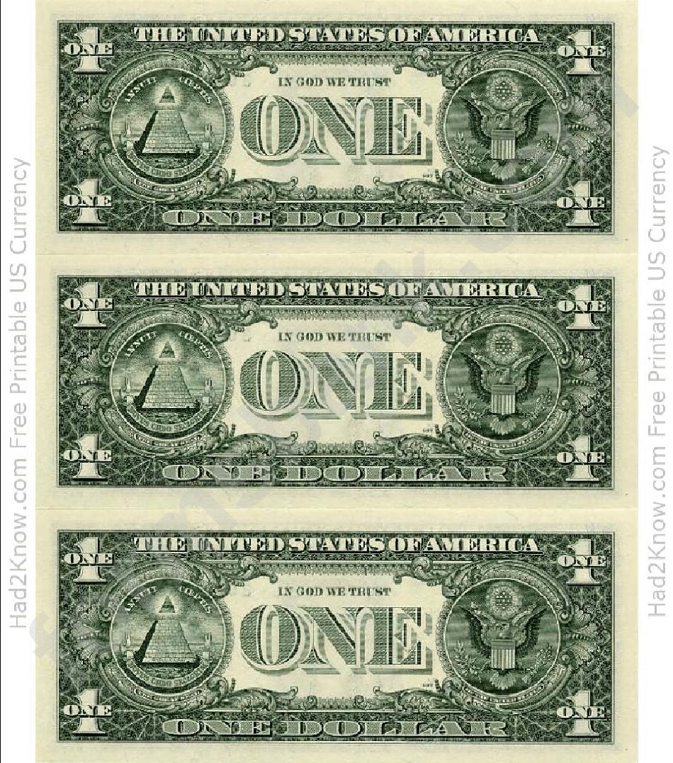 One Dollar Bill Template - Back Printable Pdf Download - Free Printable Dollar Bill Template