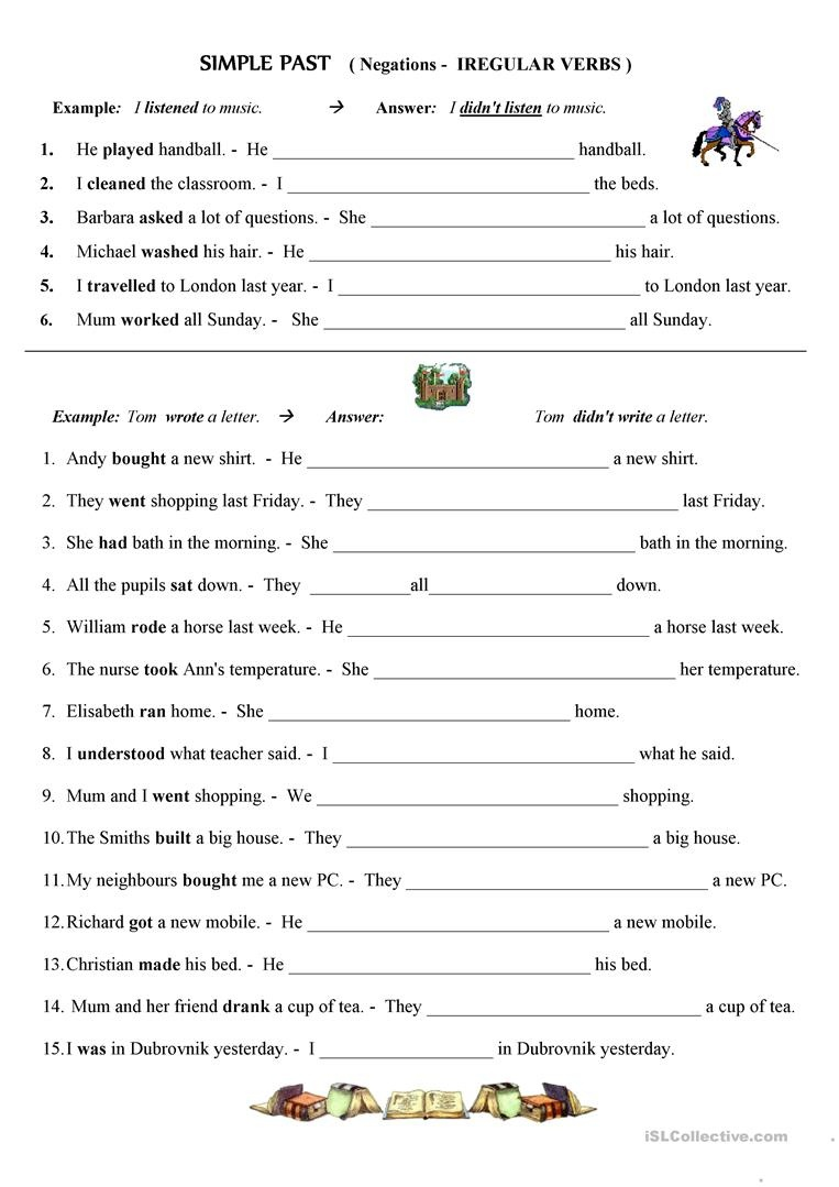 Past Simple - Negative Form; Irregular Verbs Worksheet - Free Esl - Free Printable Past Tense Verbs Worksheets