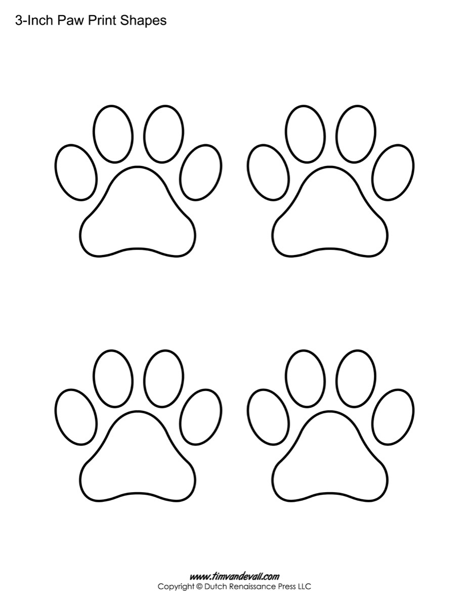 Paw Print Template Shapes | Blank Printable Shapes - Free Shape Templates Printable