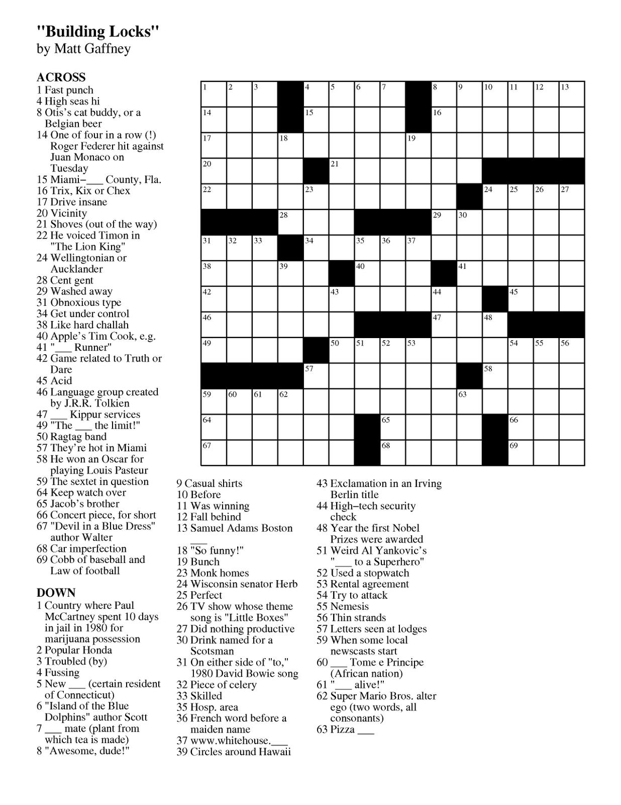 Pdf Easy Latin Crossword Puzzles - Free Daily Printable Crossword Puzzles