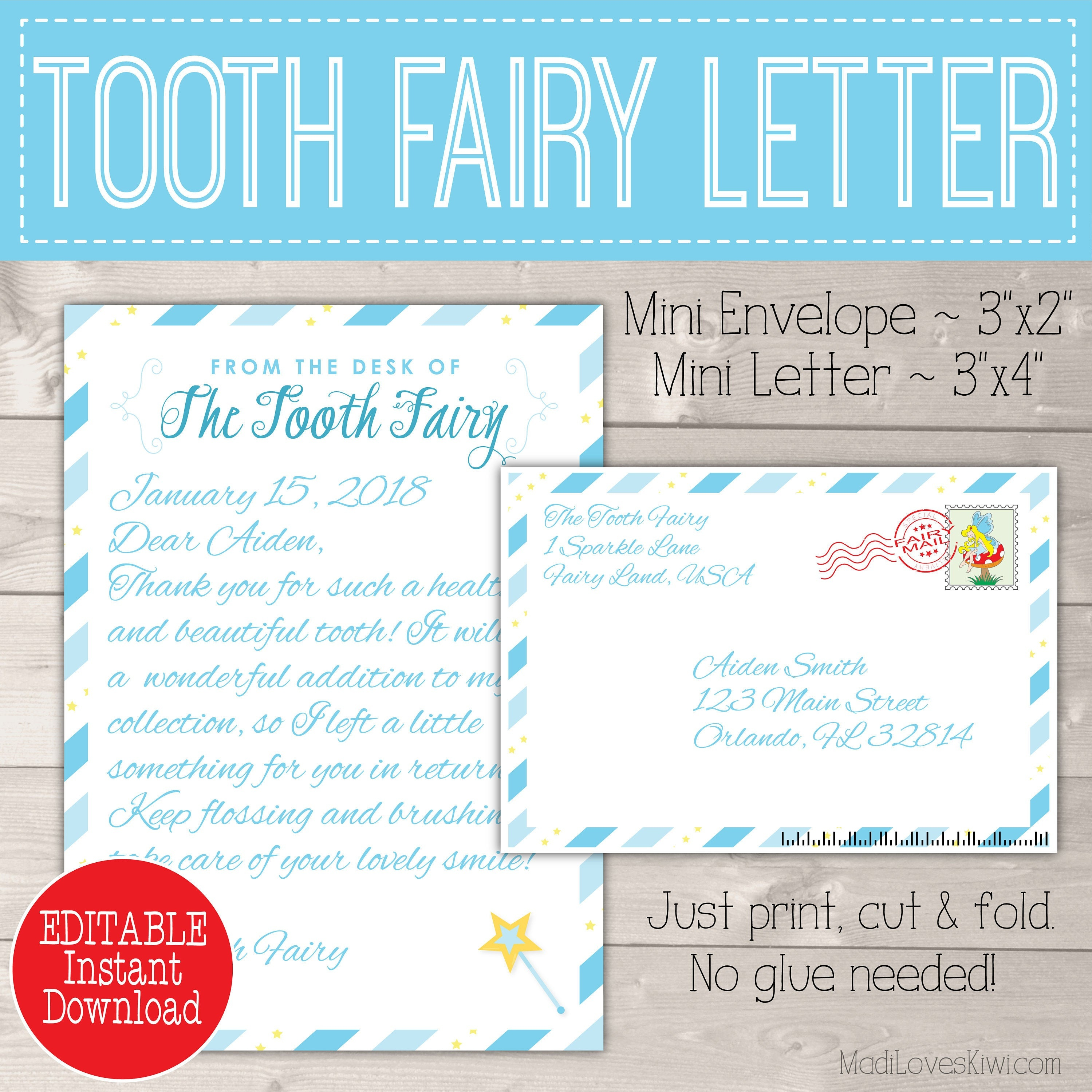 Personalized Tooth Fairy Letter Kit Boy Printable Download   Etsy - Tooth Fairy Stationery Free Printable