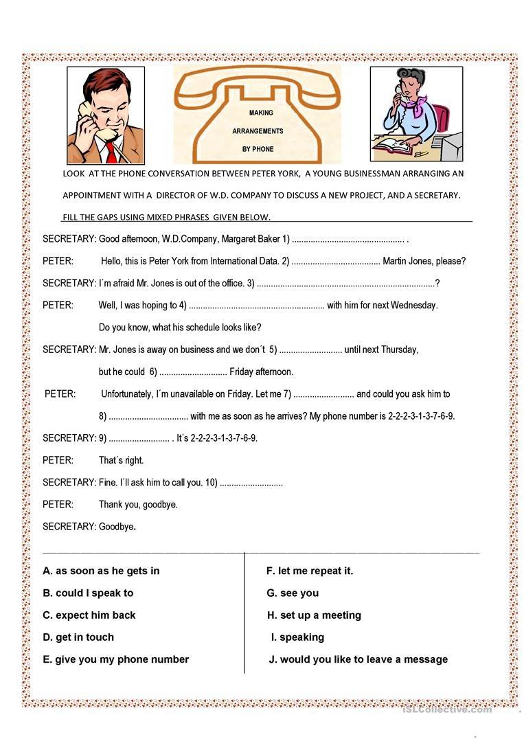 Phone Conversation Worksheet - Free Esl Printable Worksheets Made - Free Printable English Conversation Worksheets
