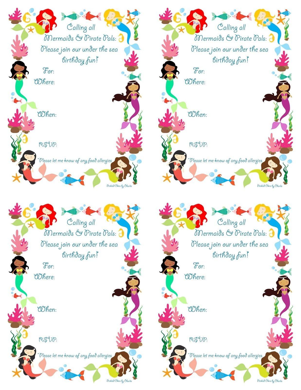 Pickled Okracharlie: Mermaid Bithday Party Invitations, Free - Mermaid Birthday Invitations Free Printable