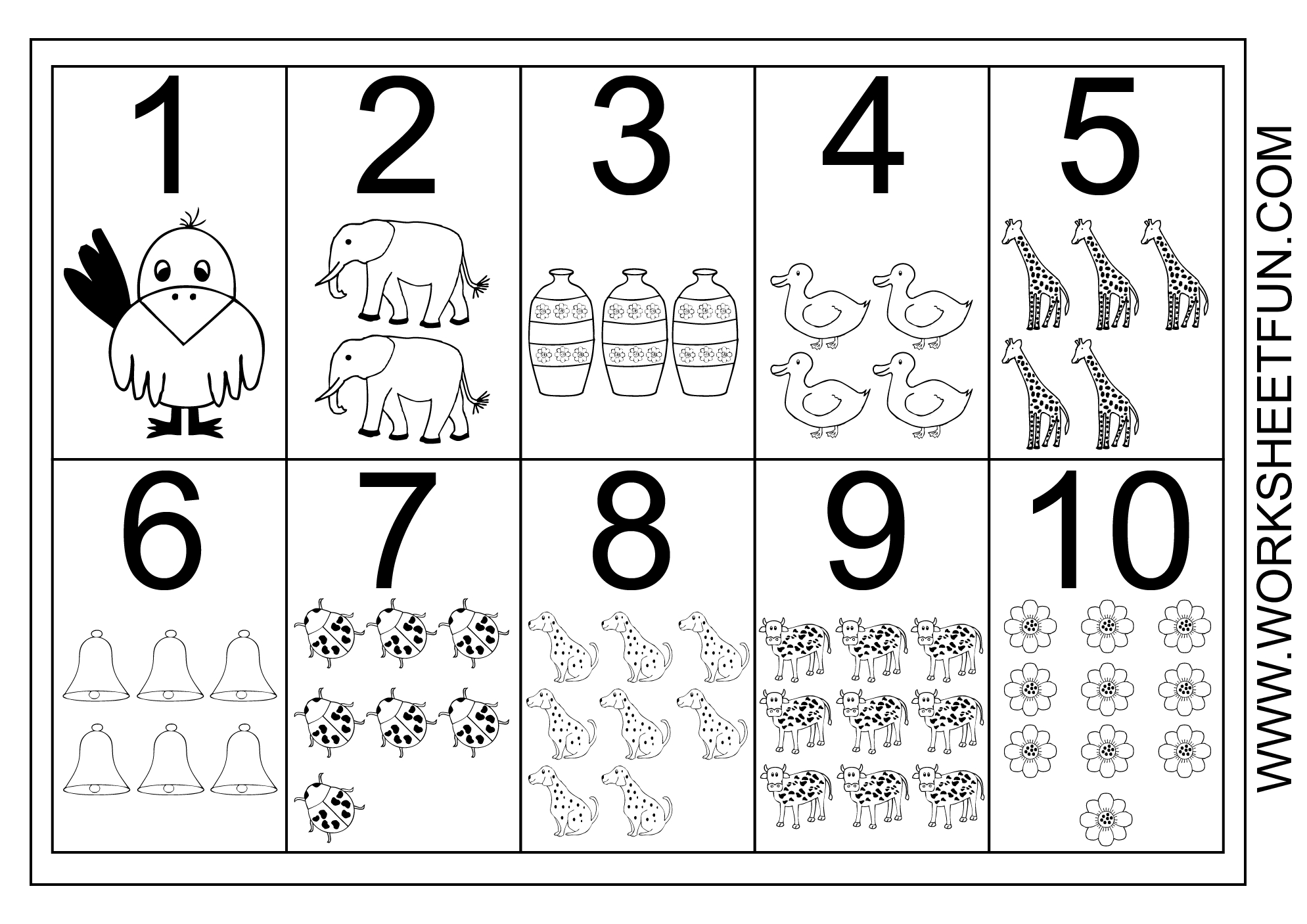 Picture Number Chart 1-10   Printable Worksheets   Numbers Preschool - Free Printable Number Chart 1 10