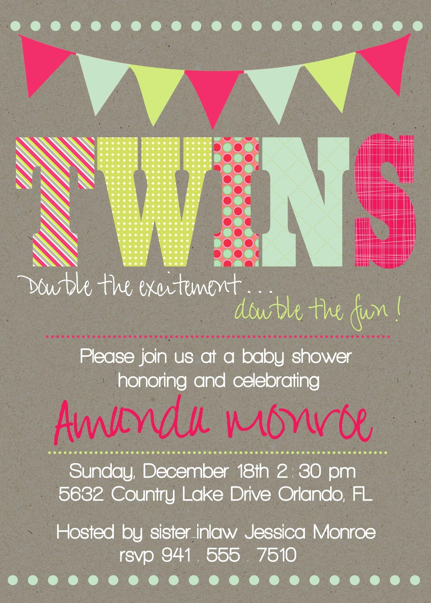 Pinanggunstore On Invitations Cardnataliesinvitation - Free Printable Twin Baby Shower Invitations