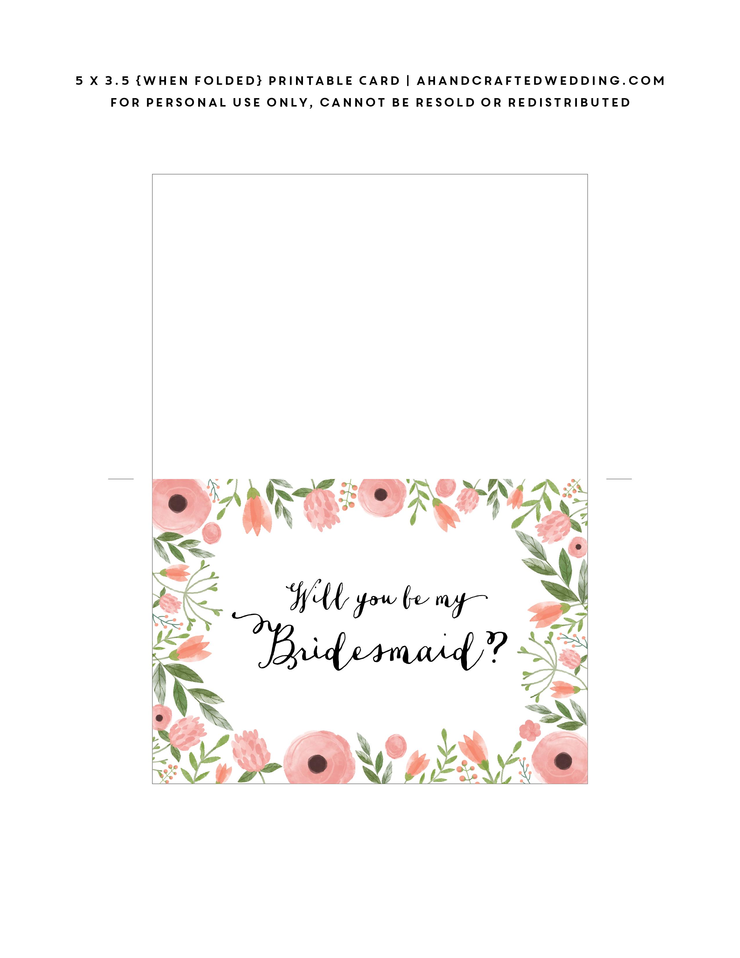 Pinarina Pangestuputri On Bridesmaid Card | Bridesmaid Cards, Be - Free Printable Will You Be My Bridesmaid Cards