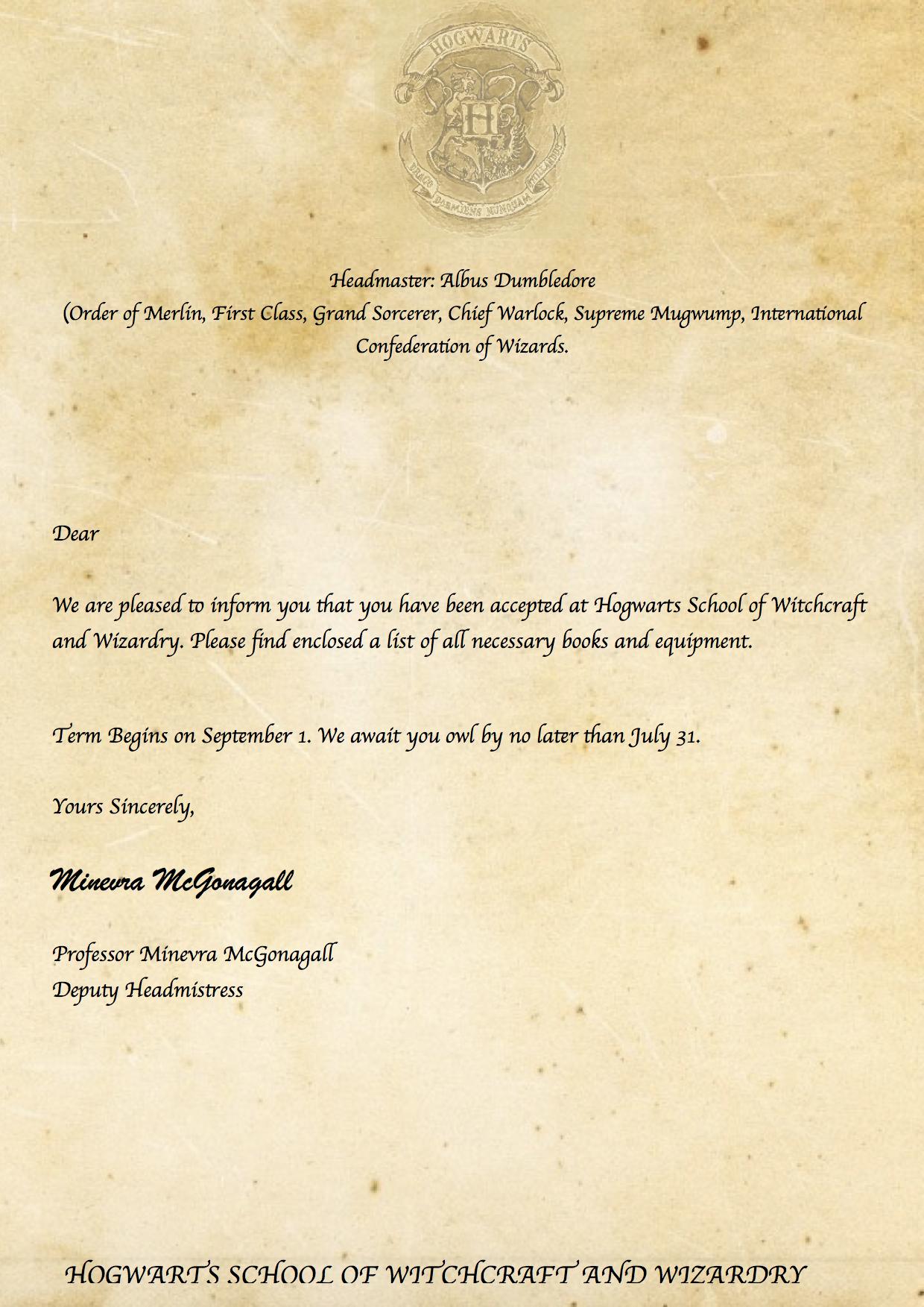 Pincaitlin Moore On Harry Potter ⚡ | Harry Potter Printables - Hogwarts Acceptance Letter Template Free Printable