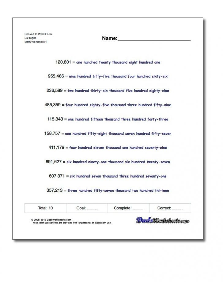 Free Printable Expanded Notation Worksheets