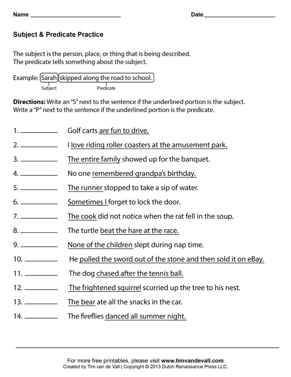 Pinemilia Arenciba On Second Grade | Subject, Predicate - Free Printable Worksheets For 1St Grade Language Arts