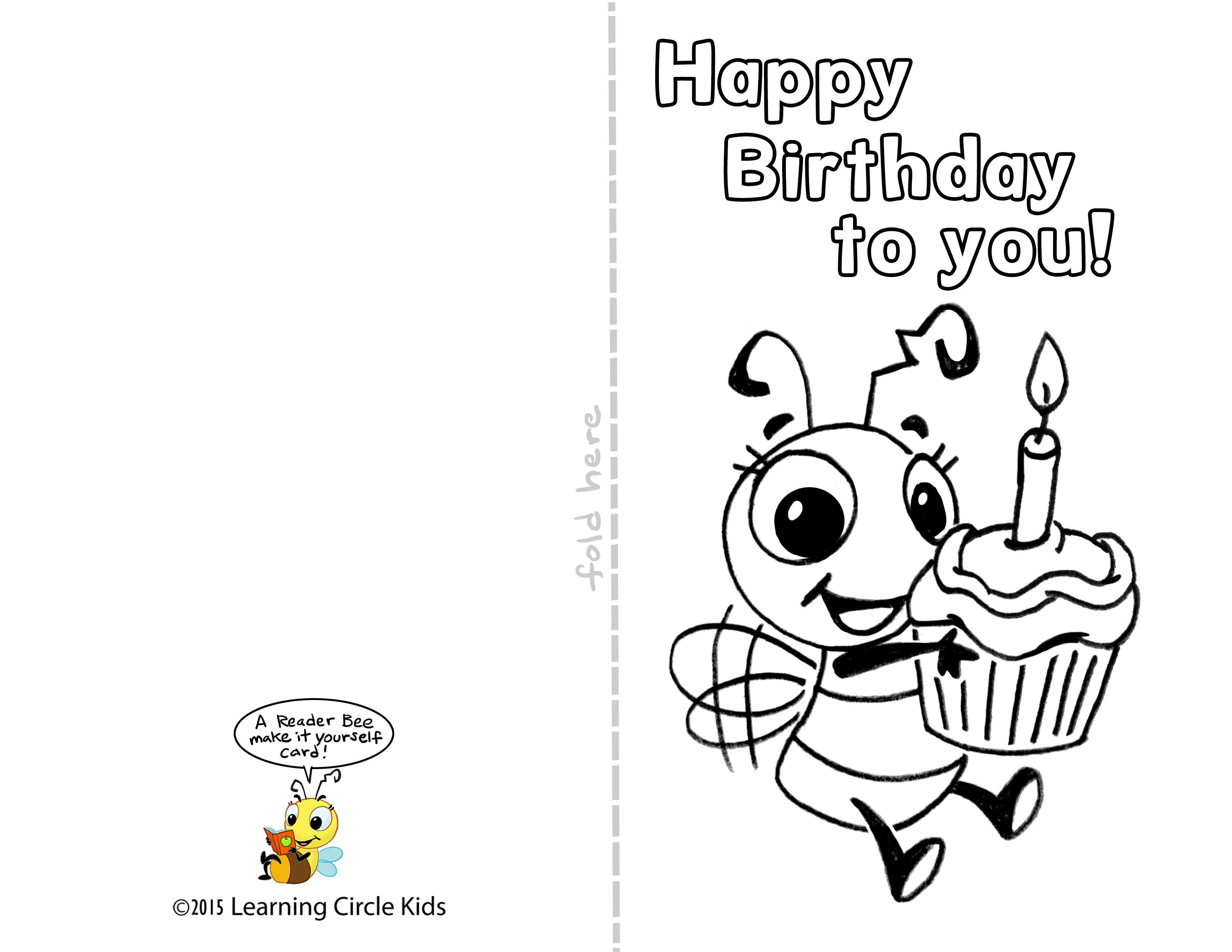 Pinreader Bee On Birthday Celebration - Bee Style | Free - Free Printable Birthday Cards For Boys