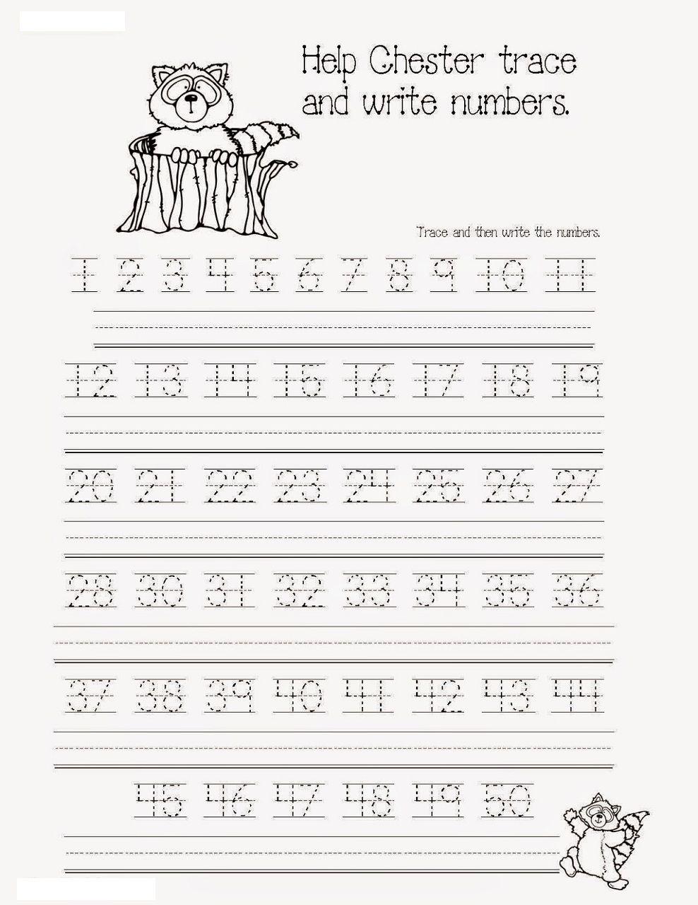 Pinterest - Free Printable Tracing Numbers 1 50