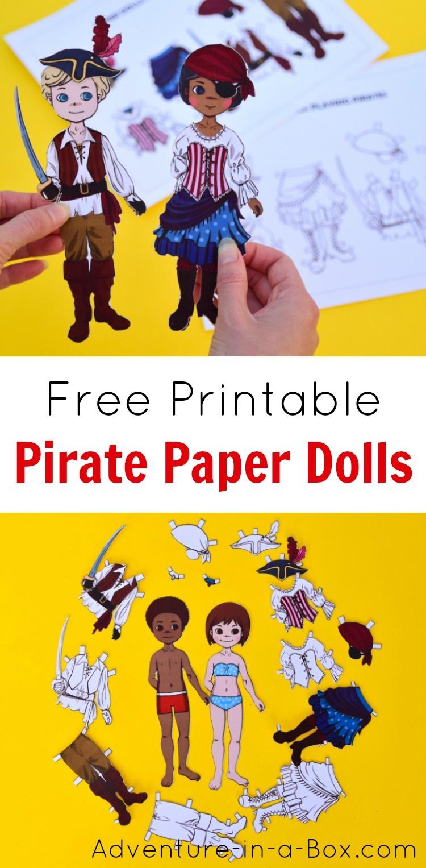Pirate Dress-Up Paper Dolls: Free Printable Craft   Adventure In A Box - Free Printable Dress Up Paper Dolls