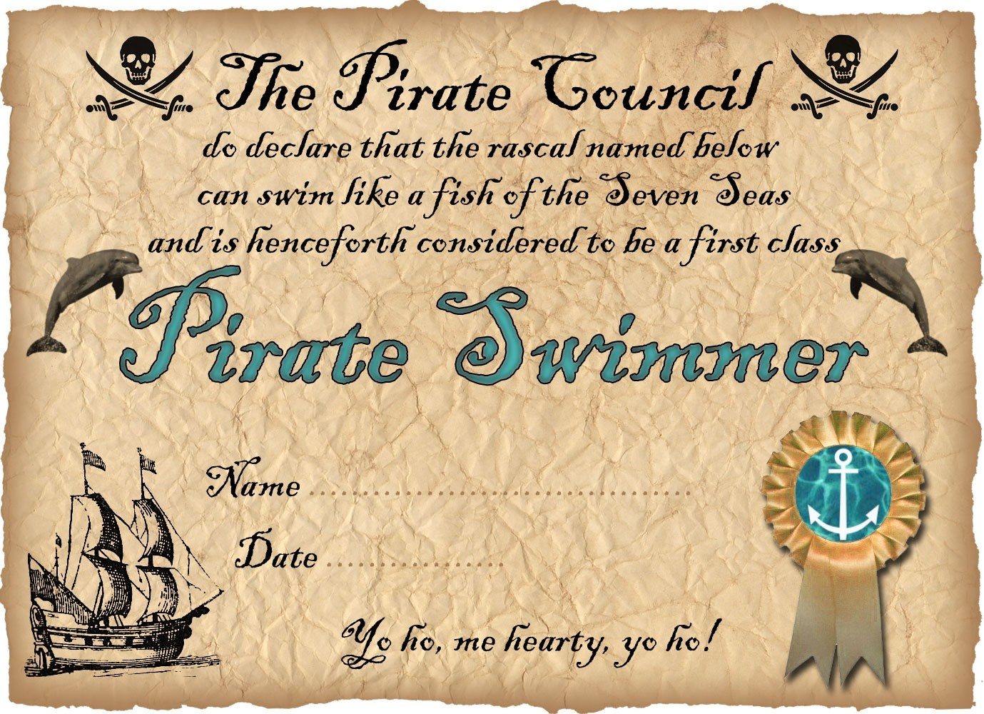 Pirate Swimmer Certificate | Rooftop Post Printables - Free Printable Swimming Certificates For Kids