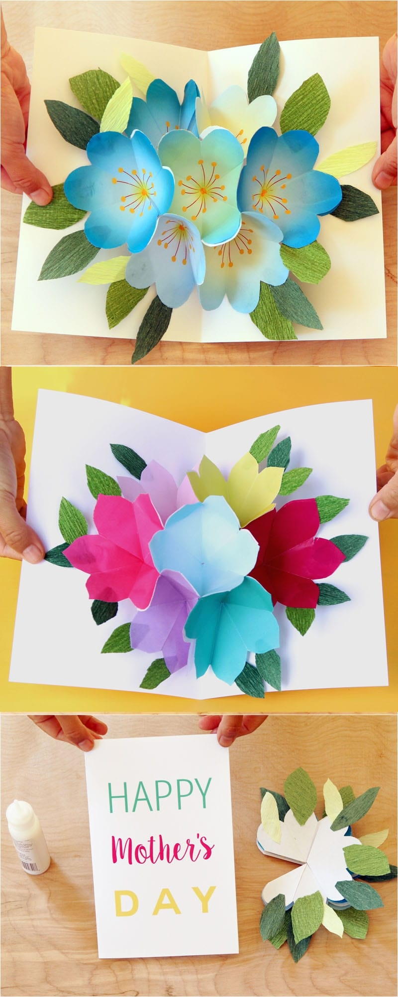 Pop Up Flowers Diy Printable Mother's Day Card - A Piece Of Rainbow - Free Printable Pop Up Card Templates