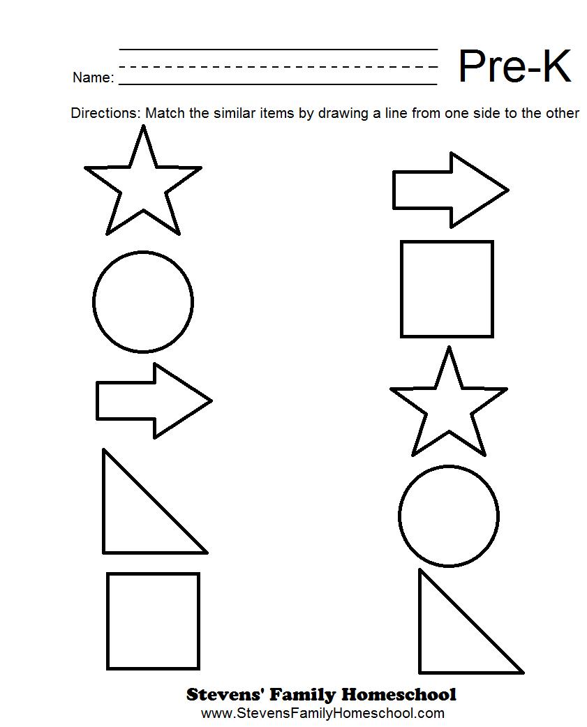 Pre-K Matching Worksheets | Kids | Pre K Worksheets, Pre K Math - Free Printable Pre K Activities