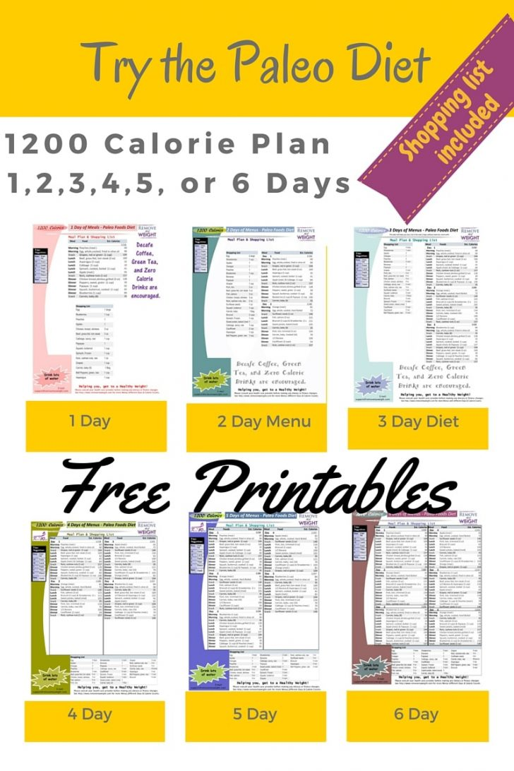 Free Printable 1200 Calorie Diet Menu