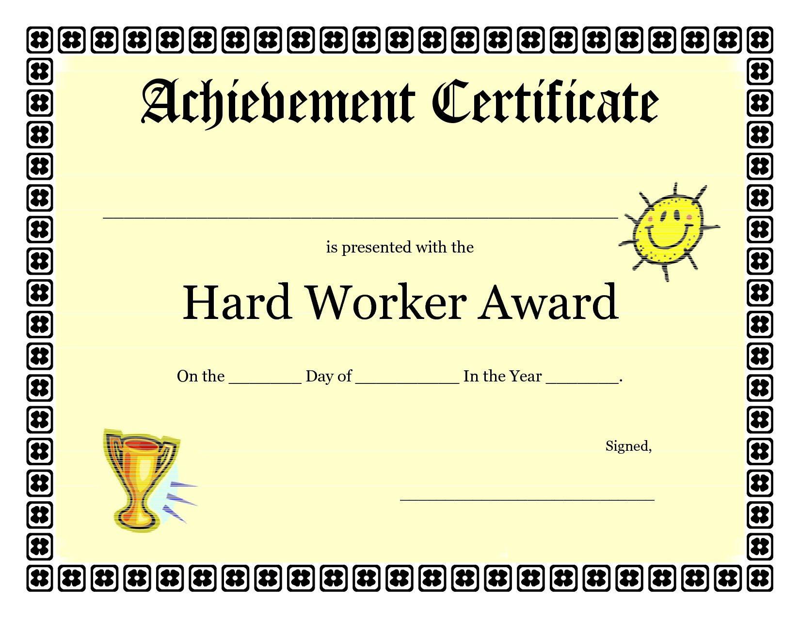 Printable Achievement Certificates Kids | Hard Worker Achievement - Free Printable Certificates Of Achievement