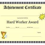 Printable Achievement Certificates Kids | Hard Worker Achievement   Free Printable Honor Roll Certificates Kids