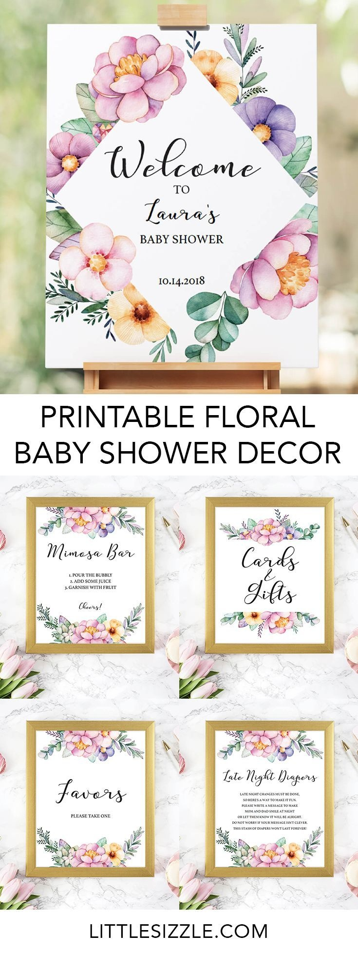 Printable Baby Shower Floral Decorations   Baby Shower Diy - Free Printable Baby Shower Table Signs