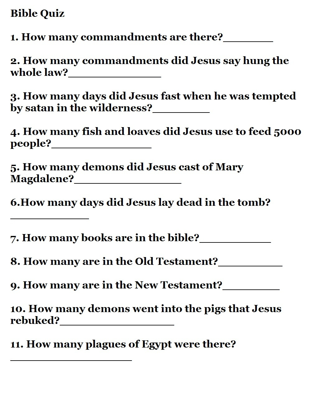 Printable Bible Quizzes - Free Printable Bible Trivia Questions And Answers