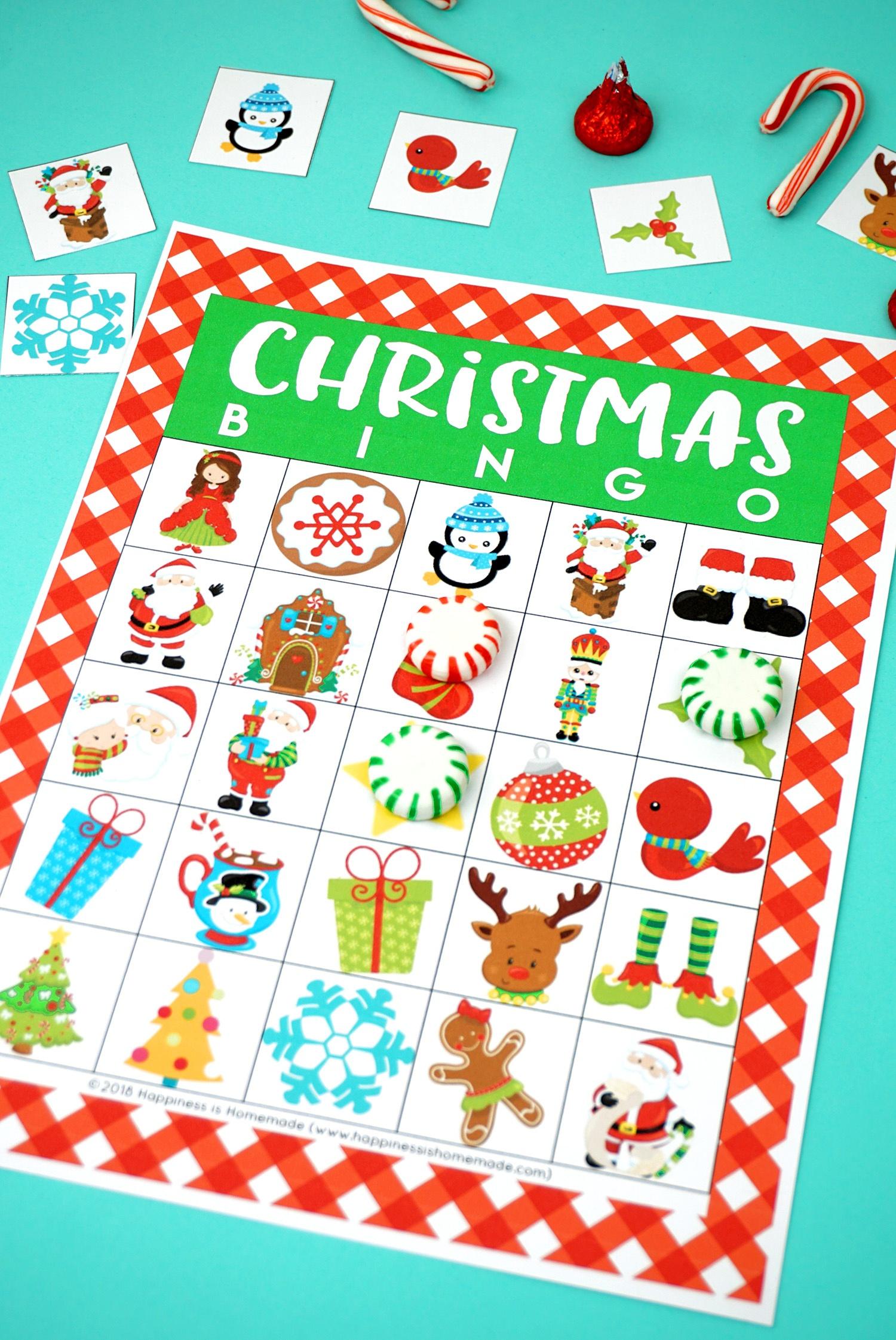 Printable Christmas Bingo Game - Happiness Is Homemade - Free Printable Christmas Board Games