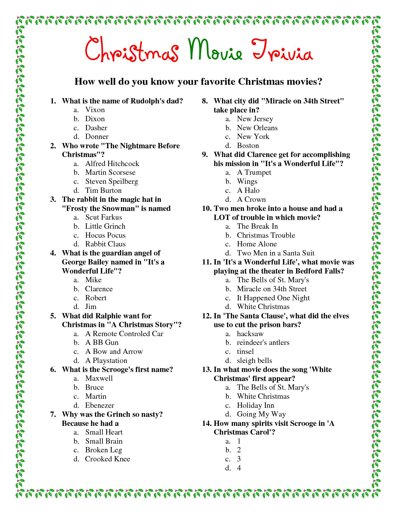 Printable Christmas Movie Trivia.pdf Download Legal Documents - Free Printable Trivia Questions For Seniors