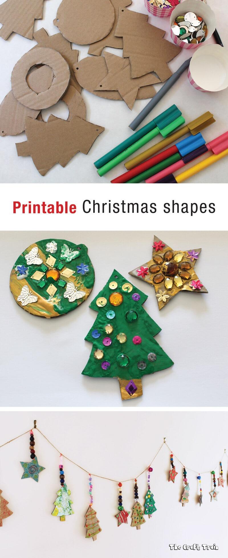 Printable Christmas Shapes   The Craft Train - Free Printable Christmas Cutouts