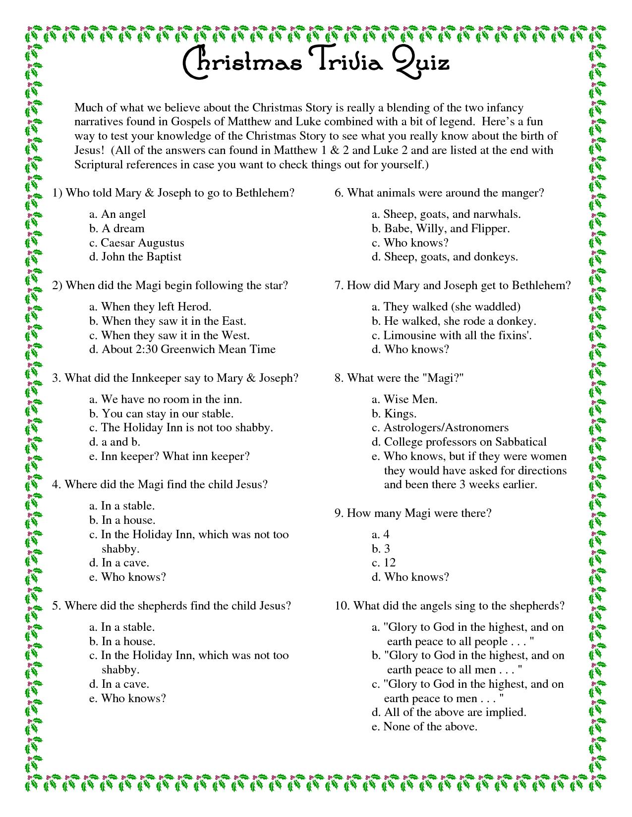 Printable Christmas Trivia Questions And Answers | Christmas Party - Free Printable Trivia Questions For Seniors