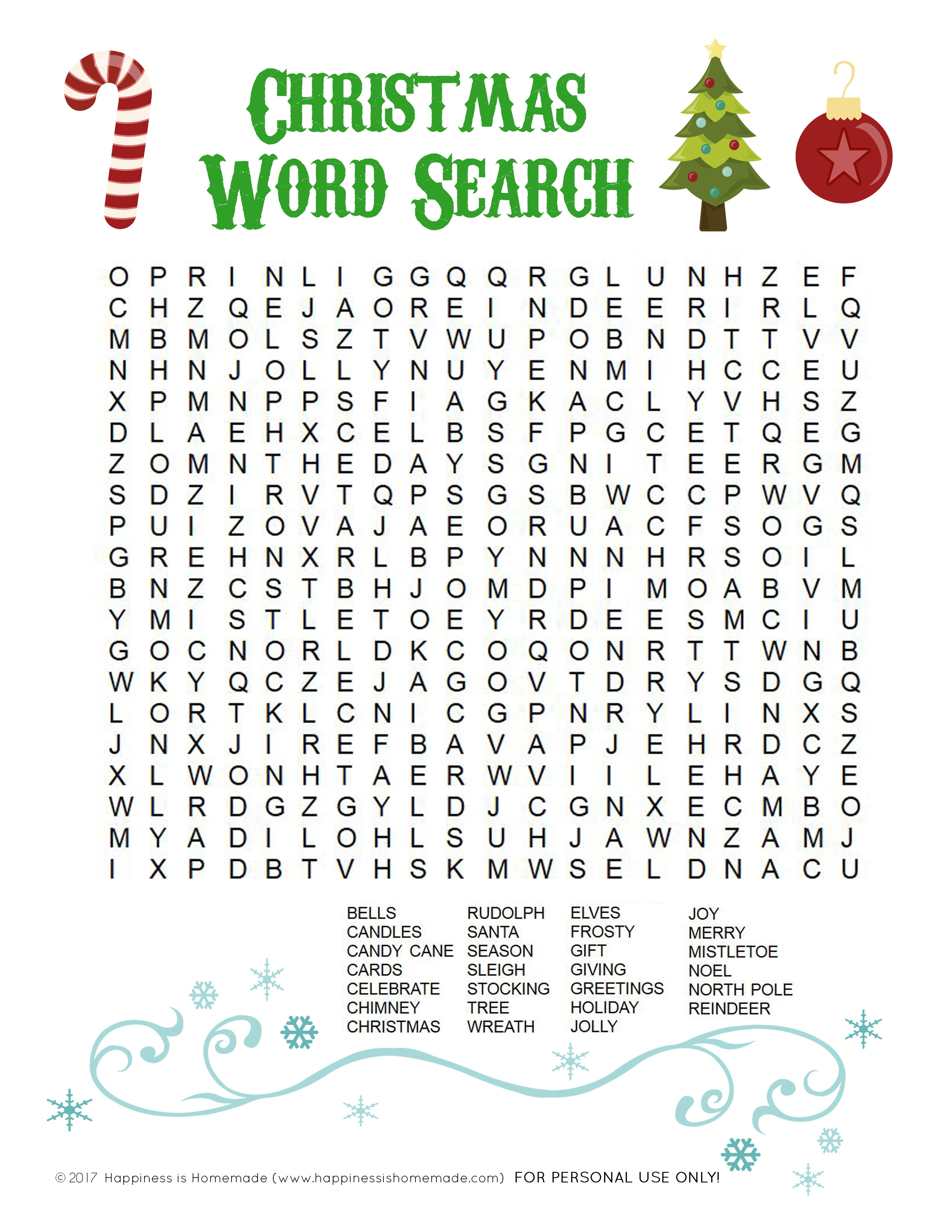 Printable Christmas Word Search For Kids & Adults - Happiness Is - Free Printable Christmas Word Games For Adults