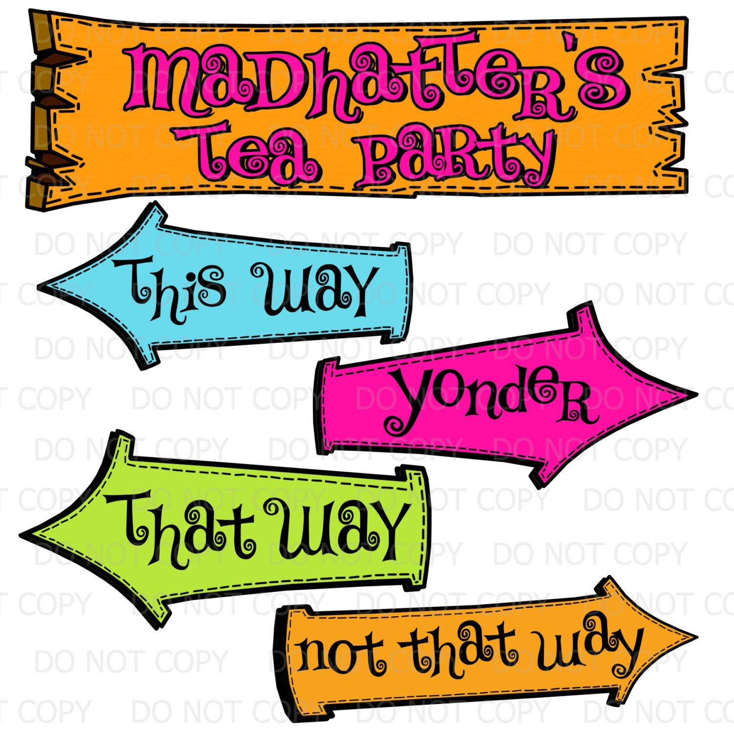 Printable Diy Madhatter's Tea Party Sign And Arrows | Dixi's Mad - Alice In Wonderland Signs Free Printable