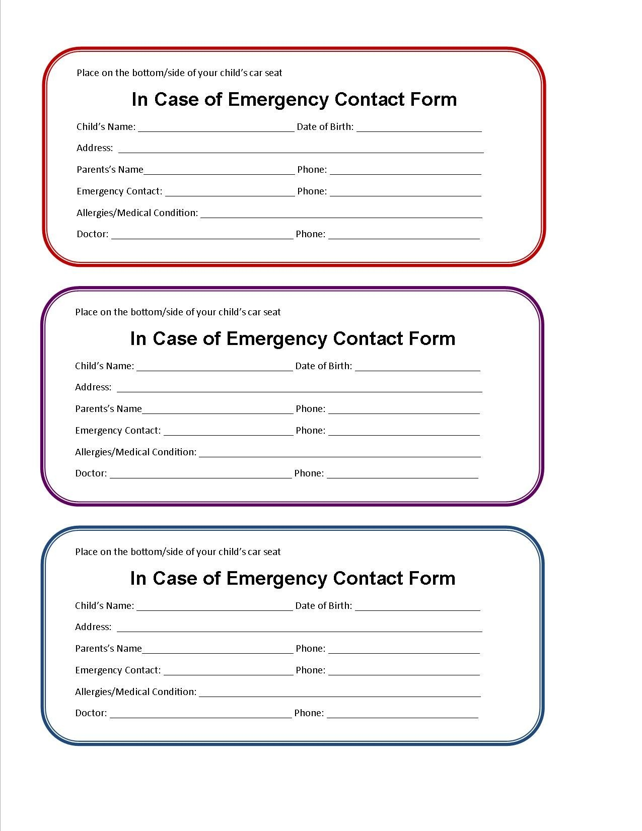 Printable Emergency Contact Form For Car Seat   Super Mom I Am - Free Printable Child Identification Card