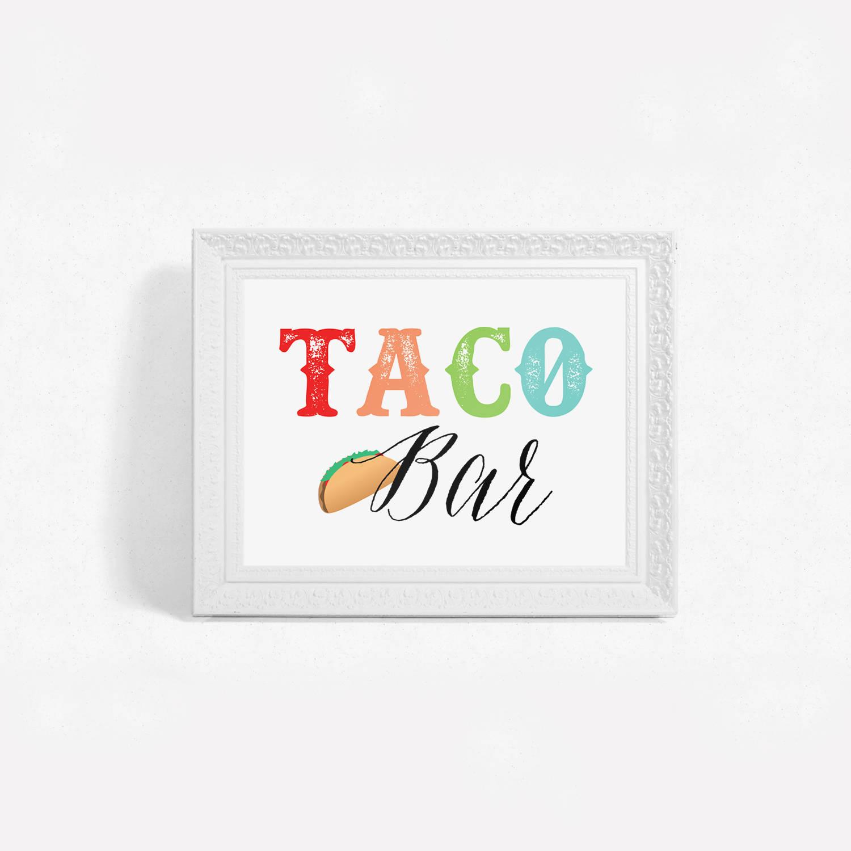 Printable Fiesta Taco Bar Sign – Little Magic Prints - Free Printable Taco Bar Signs