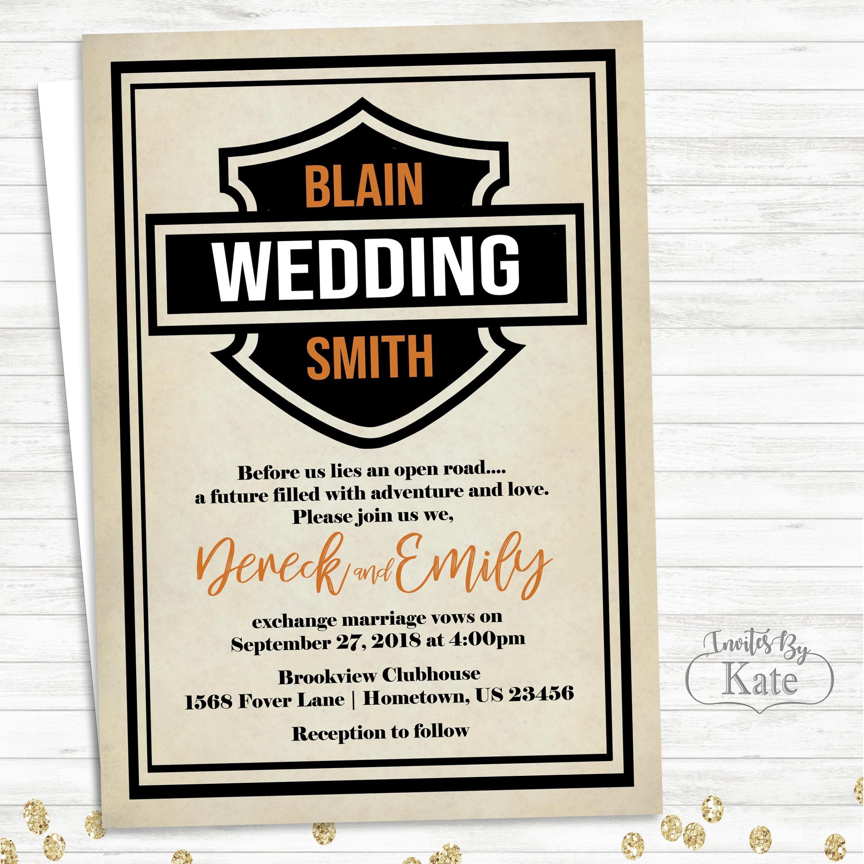 Printable Harley Davidson Biker Motorcycle Wedding Personalized For - Motorcycle Invitations Free Printable