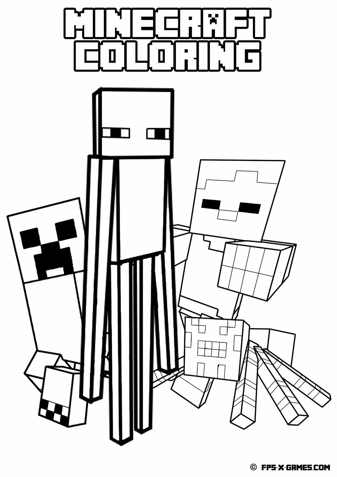 Printable Minecraft Coloring - Mob | Minecraft | Minecraft Coloring - Free Printable Minecraft Activity Pages