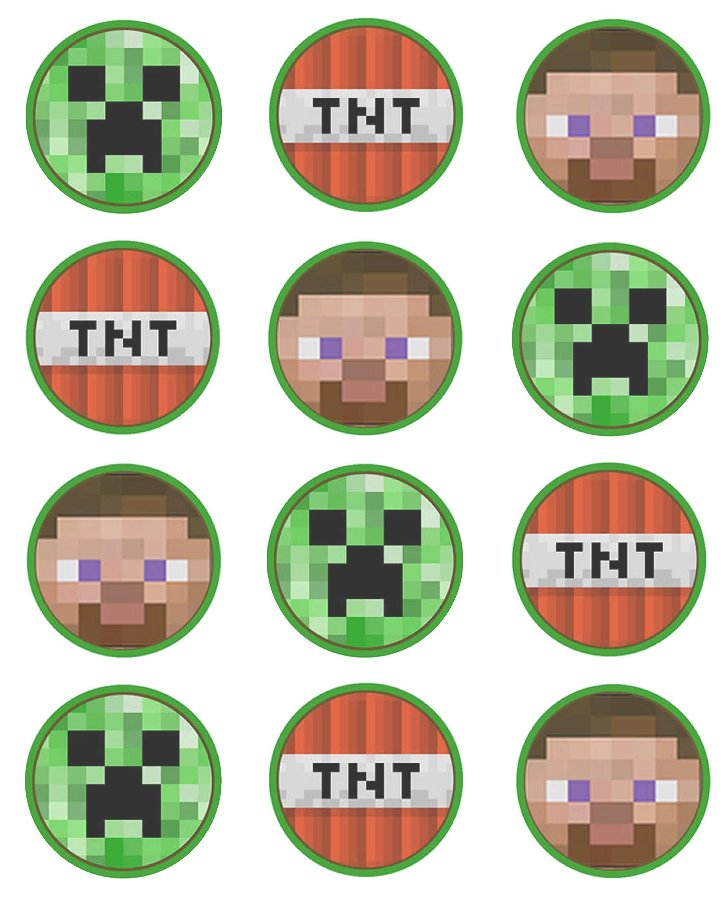 Printable Minecraft Stickers    Minecraf Set Of 12 2 Inch Round - Free Printable Minecraft Cupcake Toppers And Wrappers