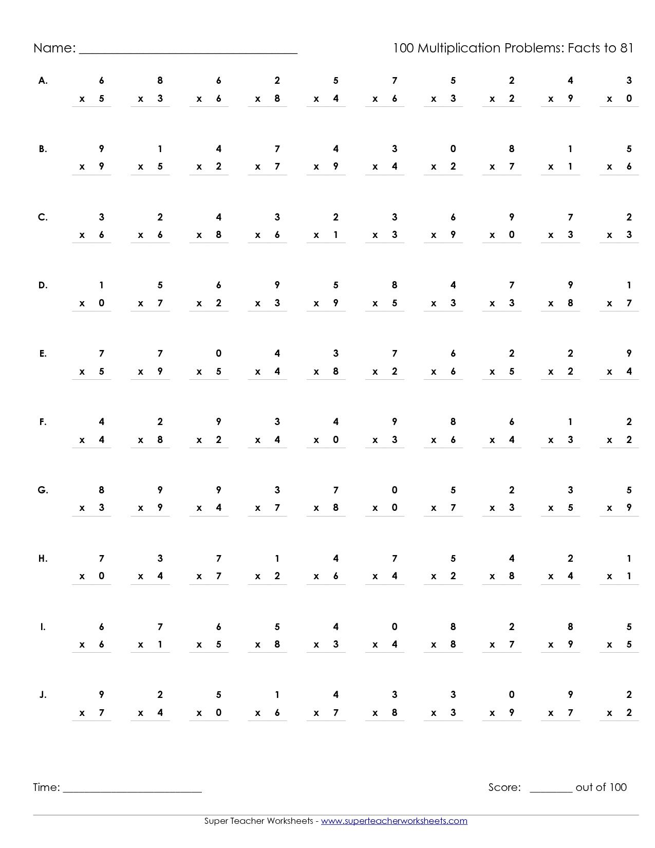 Printable Multiplication Worksheets 100 Problems   Math' S - Free Printable Multiplication Worksheets 100 Problems