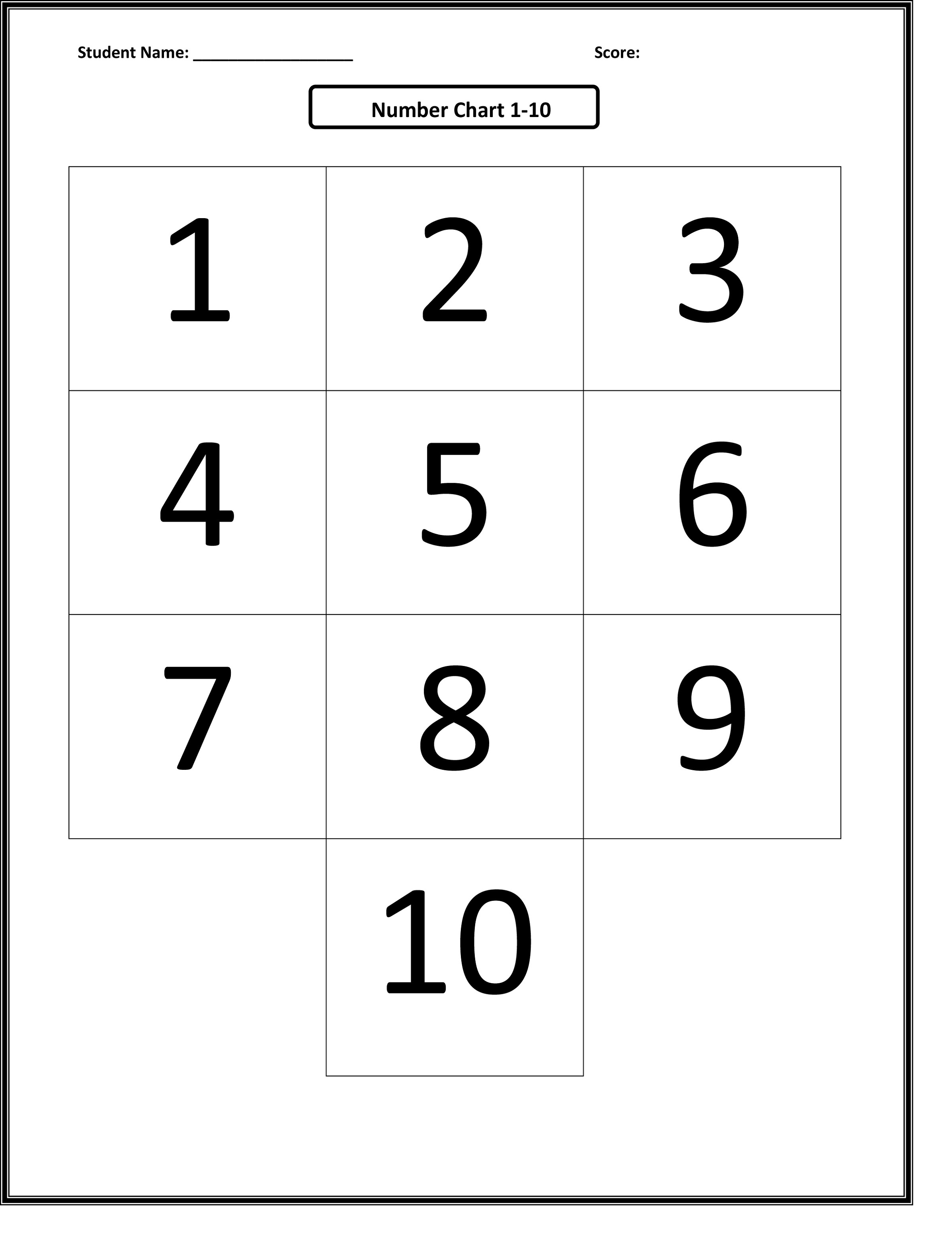 Printable Number Charts 1-10   Activity Shelter - Free Printable Number Chart 1 10