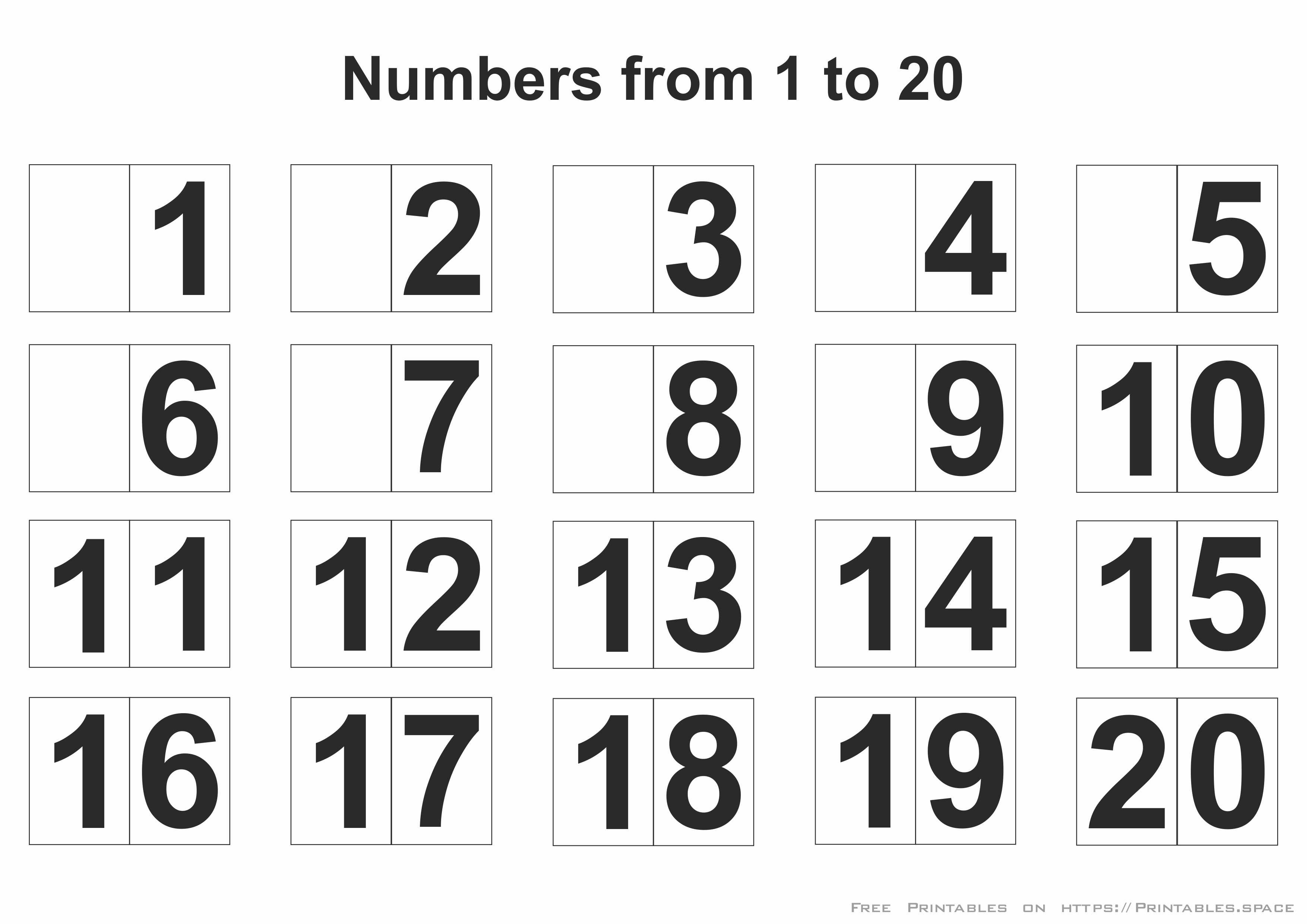Printable Numbers 1-20 - Free Printables - Free Printable Numbers