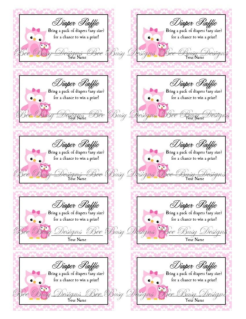 Printable Pink Mom With Little Girl Owl Diaper Raffle Tickets   Free - Free Printable Diaper Raffle Tickets Black And White