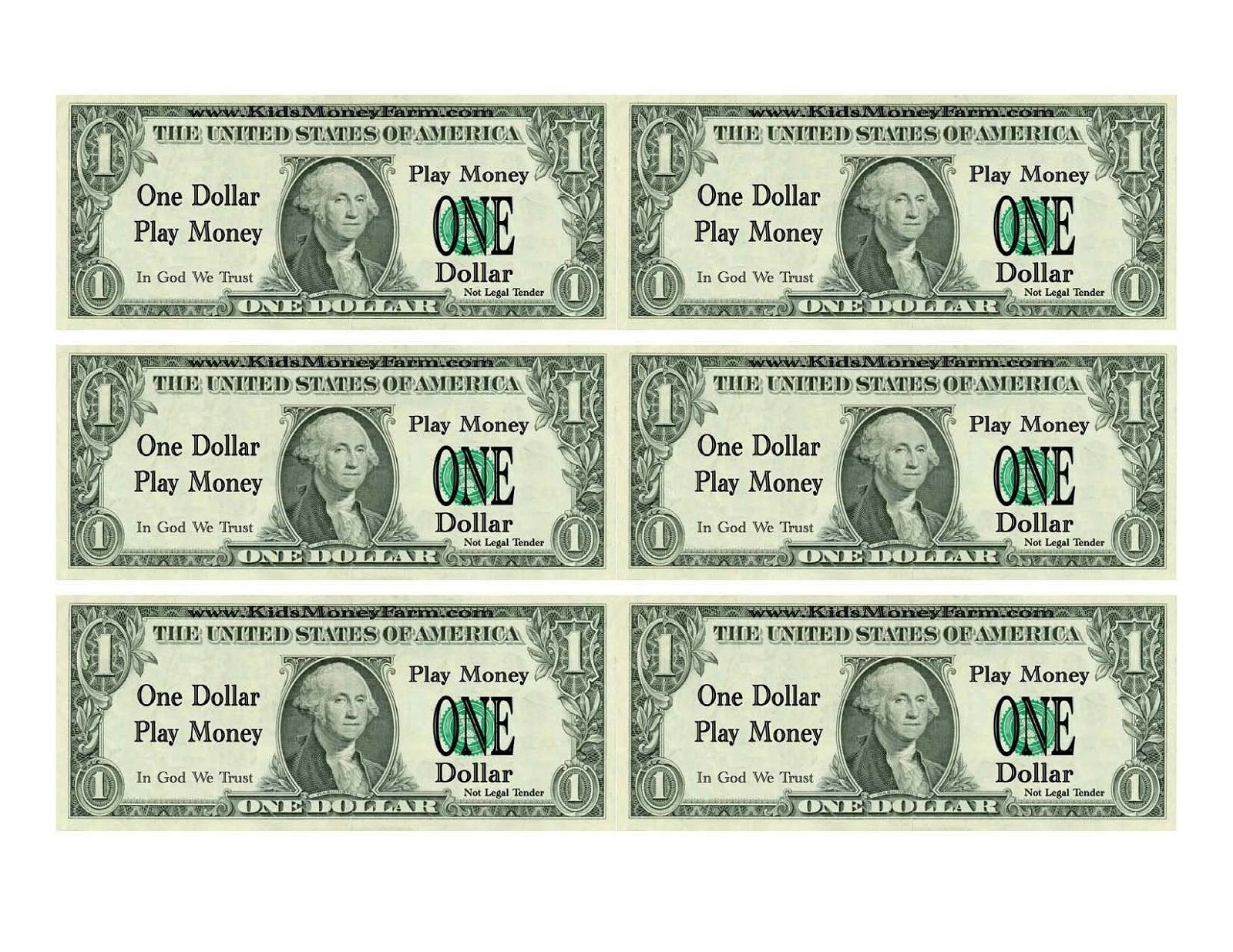 Printable Play Money For Kids | Printable | Printable Play Money - Free Printable Dollar Bill Template