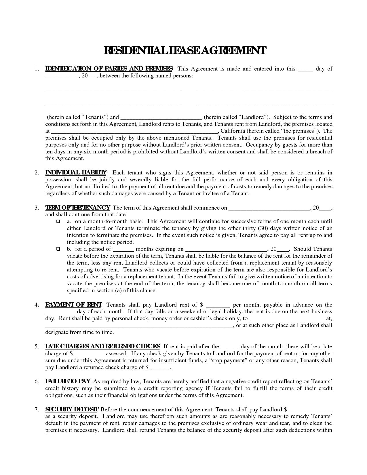 Printable Residential Free House Lease Agreement   Residential Lease - Apartment Lease Agreement Free Printable
