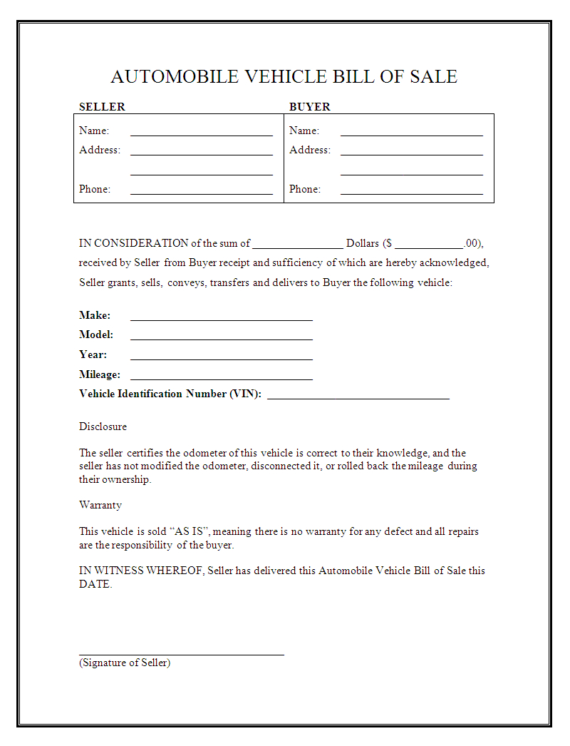 Printable Sample Auto Bill Of Sale Form   Forms And Template In 2019 - Free Printable Automobile Bill Of Sale Template