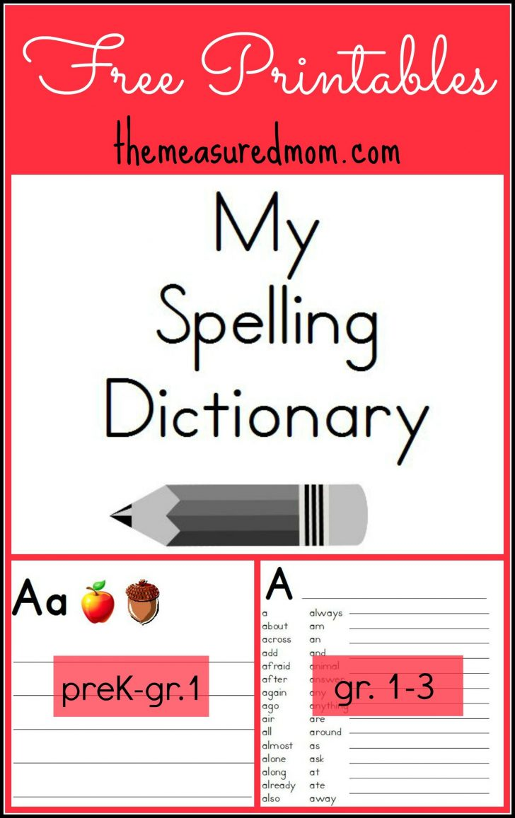 My Spelling Dictionary Printable Free