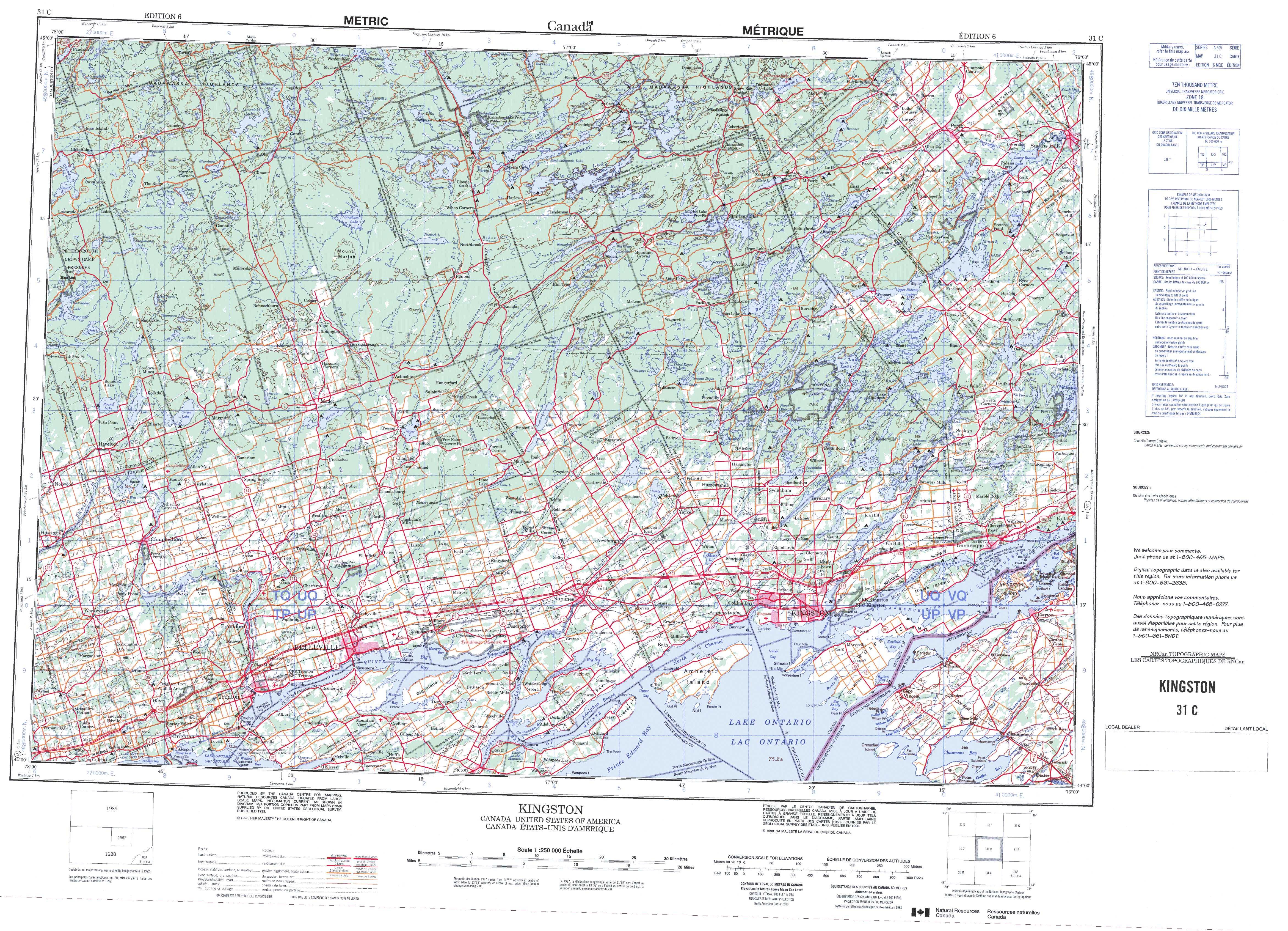 Printable Topographic Map Of Kingston 031C, On - Free Printable Topo Maps